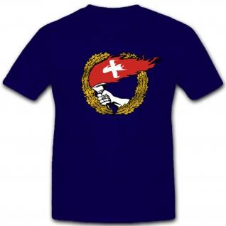 Flaggen Schweiz Fahne Fackel Heimat Wappen Hand Abzeichen Emblem - T Shirt #3094