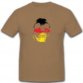 Skull Totenkopf Schädel Deutschland Flagge Fahne - T Shirt #5234