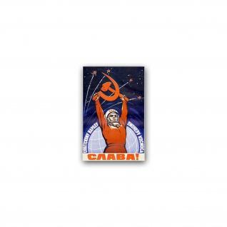 Aufkleber/Sticker Weltraumpionier Wostok Kosmos CCCP UDSSR 5x7cm A2414