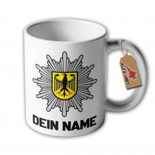 Tasse BPOL mit NamenPersonalisiert Bundes-Polizei Wappen Abzeichen Stern #34719