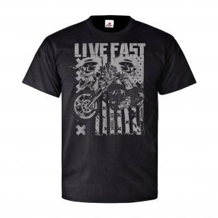 Live Fast Die young Skulls Biker Rocker USA Amerika Flagge Hell T Shirt #30893