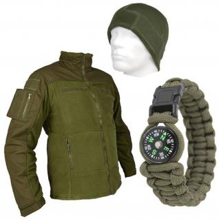 Tactical Outdoor Set Fleecemütze Paracord Armband und Kommando Fleecejacke 13589