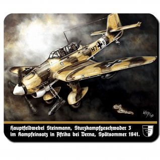 Mauspad Lukas Wirp Ju87 Stuka Afrika Sturzkampfbomber Kunst Gemälde #23429
