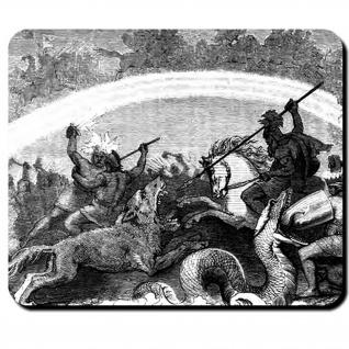 Ragnarök Kamp untergehende Götter Friedrich Wilhelm Heine Götter Mauspad #16109