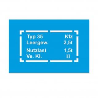 Lackierschablonen Aufkleber Kfz Typ 35 Typenschild Oldtimer 33x17cm #A4567