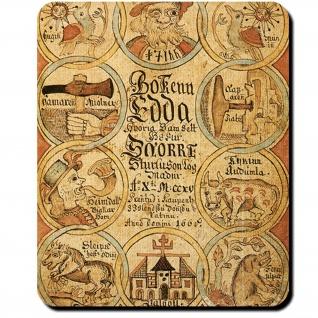 Edda Deckblatt isländische Abschrift Snorra-Edda 1666 Heldensagen Mauspad #16095