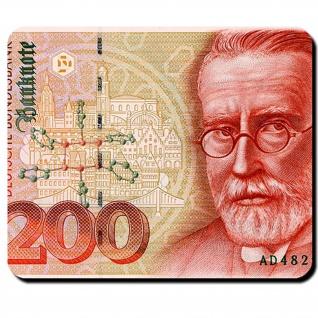 200 Mark Deutsche Mark Geldschein Währung Banknote Paul Ehrlich Mauspad #16347