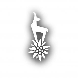 Bergsteiger Gams Edelweiss Blume Aufkleber Auto Sticker Gebirgsjäger10x4cm#A4489