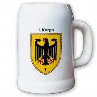 Krug / Bierkrug 0, 5l -Bierkrug I. Korps Einheit Bundeswehr Wappen #13022