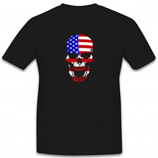 Amerika USA Flagge Fahne Skull Totenkopf Schädel- T Shirt #6482