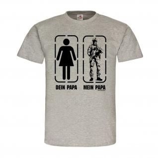 Mein PAPA dein Vater Fun Humor Soldat Fallschirmjäger Spaß BW T-Shirt #21566