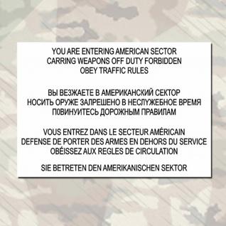 Sie betreten den amerikanischen Sektor DDR Warnschild Wandtattoo 45x31cm A296