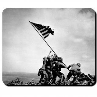 Raising the Flag on Iwo Jima USA Amreika USMC Fahne Flagge - Mauspad #7955