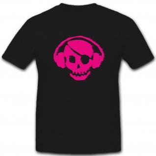 Skull Totenkopf Schädel Kopfhörer DJ Fun Humor Spaß - T Shirt #2166