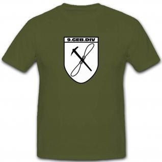 Gebdiv 9 Gebirgsdivision Wk Wappen Abzeichen Infanterie T Shirt #3515