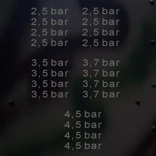 Aufkleber/Sticker Reifendruck Set 2 in bar Kotflügelaufkleber 1, 65x7, 5 cm A669
