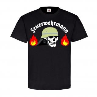 Feuerwehrmann Freiwillige Feuerwehr Helm Skull Flammen Helfer T Shirt #21385