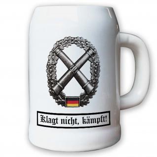 Krug / Bierkrug 0, 5l - Barettabezeichen Artillerie BW Bundeswehr Metall #11812