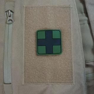 Sanitäter Patch Ersthelfer Arzt Erstehilfe 3D PVC Medic Sani Oliv 5x5cm #20332