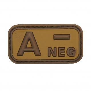 A Neg Patch 3D Rubber Emblem Blutgruppe Null Aufnäher Isaf Tarn 5cmx2, 5cm #20483