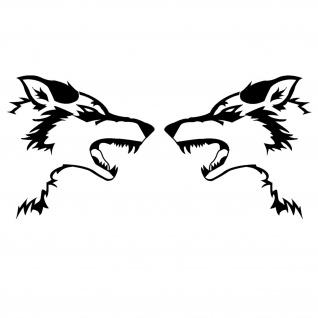 Wolfs Kopf links und rechts böser Wolf Auto Aufkleber 2x 25x25cm A5661