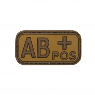 AB Pos Patch 3D Blutgruppe Plus Aufnäher Tropen Sand Erstehilfe 5x2, 5cm #20481