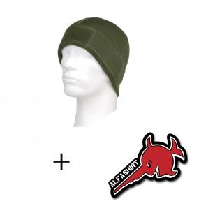 Copytec Tactical Fleece Cap Warrior grün + Alfashirt Aufkleber Winter #13394
