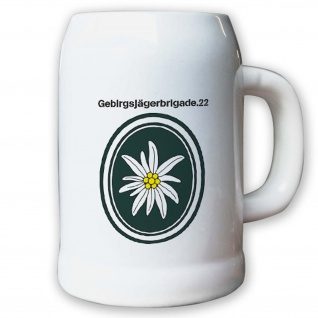 Krug / Bierkrug 0, 5l -Bierkrug Gebirgsjägerbrigade 22 GebJgBrig 22 Einheit#13007