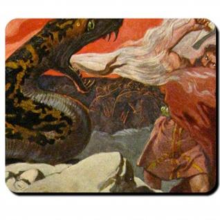 Thor Midgardschlange Hel Fenriswolf Loki Kampf Ragnarök Mauspad #16120
