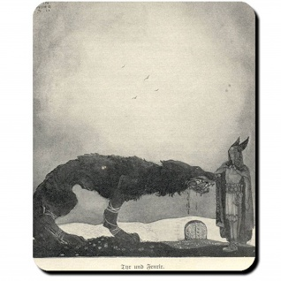 Fenriswolf Fenrir Tyr Gemälde John Bauer 1911 Sohn Loki Sumpfwolf Mauspad #16104