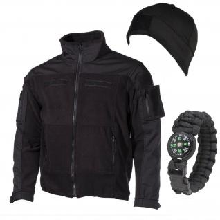 Tactical Outdoor Set Fleecemütze Paracord Armband Fleecejacke schwarz #13591