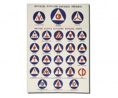 Poster US Zivile Verteidigung Abzeichen Propaganda Insigne ab 30x21cm #30957