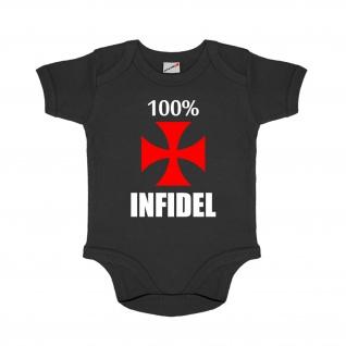 Baby Strampler 100% Infidel Prozent Kreuzritter Soldat Eltern Abendland #30652