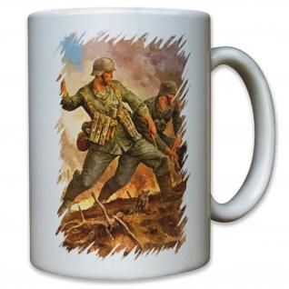 Kämpfer Soldaten Soldat WK 2 WW II Gemälde - Tasse Kaffee Becher #11603