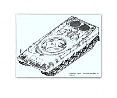 Poster Kampfpanzer Wanne Leopard 2 Fahrgestell Blueprint BW ab 30x21cm #30814