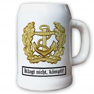 Krug / Bierkrug 0, 5l - Barettabezeichen Marine Anker Bundeswehr BW #11820