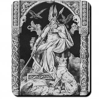 Geri und Freki Wölfe Begleiter Odins Hugin und Munin Gierig Mauspad #16105