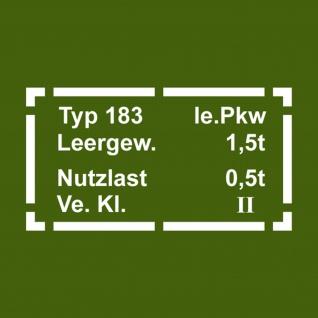 Aufkleber/Sticker Schild Typ 183 passend für VW Iltis Kfz Pkw weiß 33x17cm #A103 - Vorschau