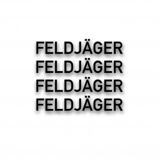 4x FELDJÄGER Schriftzug Aufkleber Sticker Militär Polizei MP 1, 5x10cm#A5320