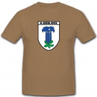 Gebdiv 4 Gebirgsdivision Wk Wappen Abzeichen Großverband T Shirt #3510