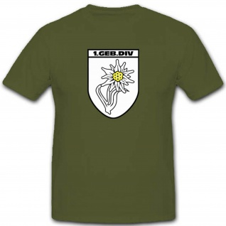 Gebdiv 1 Gebirgsdivision Edelweiss Wk Wappen Abzeichen Garde- T Shirt #3507