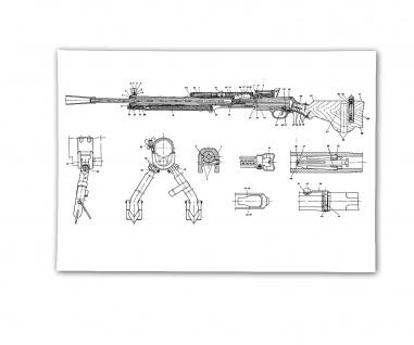 Poster Degtyaryov Maschinengewehr Blueprint Zeichnung Gewehr ab 30x21cm #30803