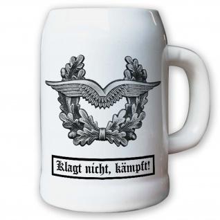 Krug / Bierkrug 0, 5l - Barettabezeichen Luftwaffe Schwingen Eichenlaub #11819