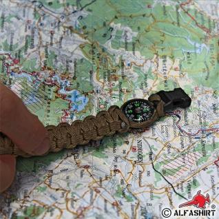 "Paracord Kompass Survival Armband oliv Größe L 9"" (Länge = 23cm) Schmuck #13406 - Vorschau 2"