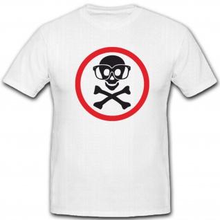 Achtung Schild Schutzbrillen Totenschädel Zeichen - T Shirt #5578