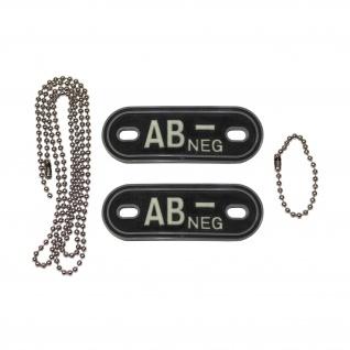 Dog Tag Blutgruppe AB- Neg Negativ Kette 3d Rubber PVC Tactical 2, 5x7cm #20494