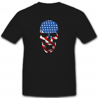 USA United States of America Skull Totenkopf Fahne Flagge flag - T Shirt #5452