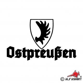 Aufkleber/Sticker Ostpreußen Heimat Wappen Elch Elchschaufel Provinz 15x9cm A568