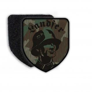 Landser Patch WH Aufnäher Soldat Militär Splittertarn Stahlhelm Einheit #22970