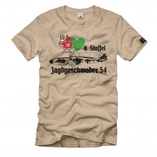 8-JG 54 Staffel Jagdgeschwader Luftwaffe Grünherz Me109 Wappen WW2 T-Shirt#1832